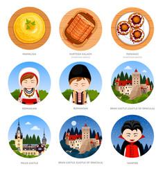 Romania set of traditional cultural symbols vector