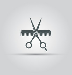 scissors and comb lis isolated icon vector image