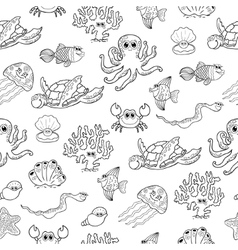 Seamless background with sea animals vector image vector image