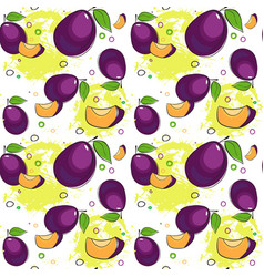 seamless pattern plum fruits summer ornament vector image