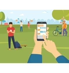 Sending message via messenger on smartphone vector image