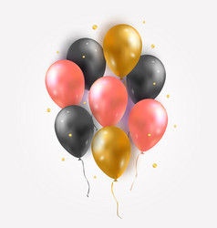 set glossy air 3d flying balloons and confetti vector image