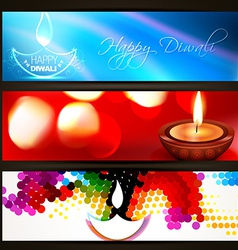 set of diwali headers vector image