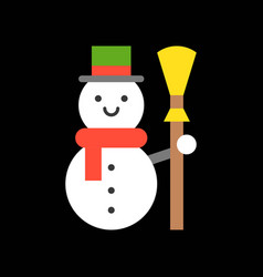 Snowman and broom merry christmas icon set flat vector
