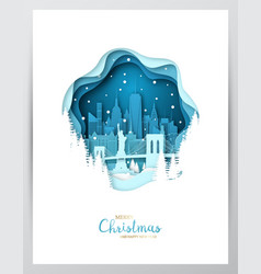 snowy new york city paper art greeting card vector image