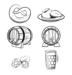 some beer line icons vector image