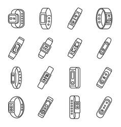 sport fitness bracelet icons set outline style vector image