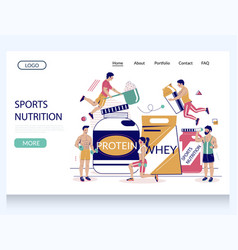 sports nutrition website landing page vector image