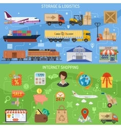 Storage logistics and shopping banners vector image