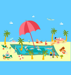 summer beach rest at sea vacation with people vector image