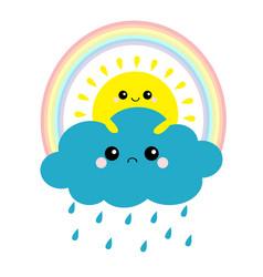 sun holding cloud rainbow set smiling and sad vector image