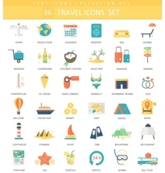 Travel color flat icon set Elegant style vector