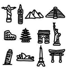 travel landmarks around the world icon set vector image