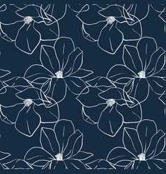 trendy seamless floral print with magnolia flowers vector image