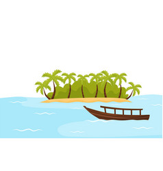 tropical island with sand and palm trees and boat vector image
