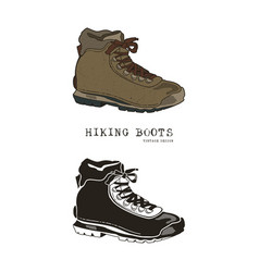 vintage hand drawn travel boots in retro color and vector image
