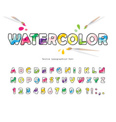 watercolour cartoon font creative artistic vector image
