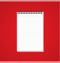 white blank paper note book on red background vector image