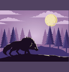 Wolf under the moon in the wild forest vector