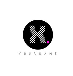 x letter logo design with white lines and black vector image