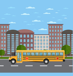 Yellow school bus on road in urban landscape vector