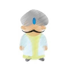cartoon indian man with mustache turban dhoti vector image