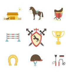 Horse and equestrian icons in flat style vector image vector image
