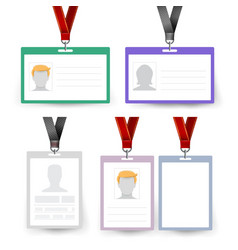 id badge set name tag employee card vector image