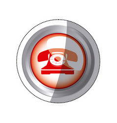 sticker circular button red old phone icon vector image