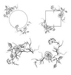 floral decorative border and frame set with vector image vector image