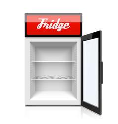 glass door mini refrigerator fridge vector image