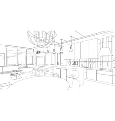 Interior line drawing vector image vector image