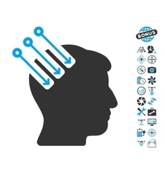 Neuro Interface Icon With Copter Tools Bonus vector image