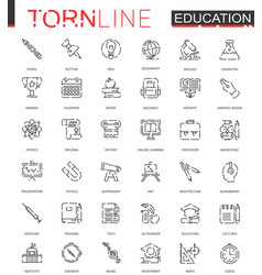 school education thin torn line web icons set vector image