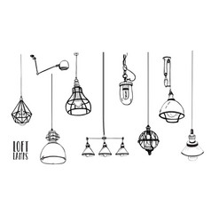 set of modern isolated edison loft lamps vintage vector image vector image