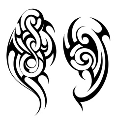 Maori style tattoo shapes set vector image