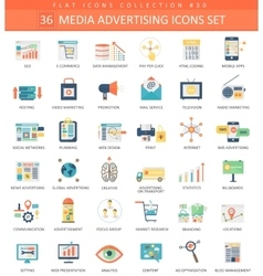 Media advertising color flat icon set vector image vector image