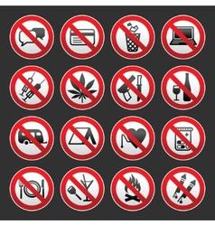 prohibited symbols on gray background vector image