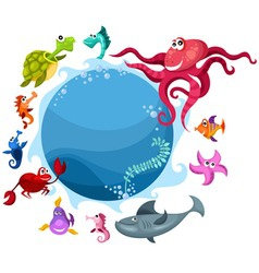 sea life card vector image vector image