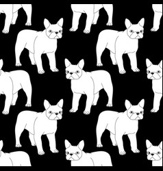 black and white seamless pattern with bulldog vector image