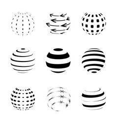 black and white sphere logo set isolated on white vector image vector image
