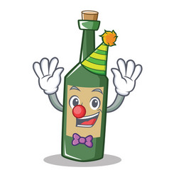 clown wine bottle character cartoon vector image