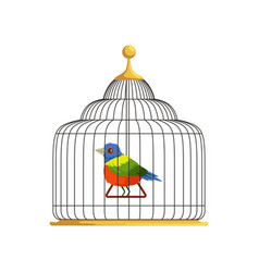 colorful tropical bird sitting on triangle swing vector image vector image