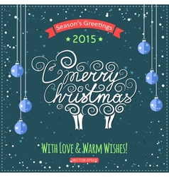 Hand drawn Merry Christmas lettering with a cute vector image vector image