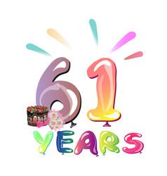 happy birthday sixty one 61 year vector image