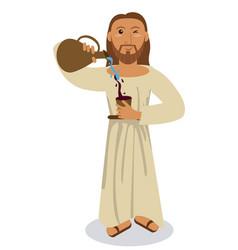 jesus christ conviert water wine symbol vector image vector image