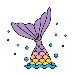 mermaid tail rainbow pastel colorful jumping to vector image