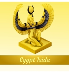 Monument is of the egyptian queen isida in gold vector