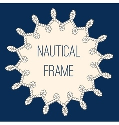Nautical ropes frame over navy blue background vector image