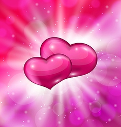 Shimmering background with beautiful hearts for vector image